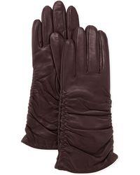 Grandoe - Pris Ruched Leather Gloves Plum - Lyst