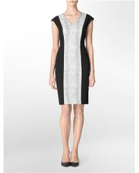 Calvin Klein White Label Faux Snake Textured Front V-Neck Sleeveless Sheath Dress - Lyst