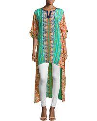 Tolani Mandira High-Low Printed Caftan Tunic multicolor - Lyst