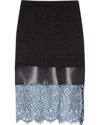 Topshop Unique - Lace And Satin-Paneled Woven Skirt - Lyst