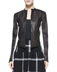 Alice + Olivia Leather Detail 2 Tone Open Front Jacket - Lyst