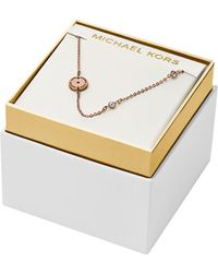 Michael Kors Rose Gold Tone Crystal Station Necklace - Lyst