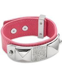 Rebecca Minkoff Pavã© & Leather Studded Cuff Bracelet - Lyst
