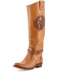 Frye Rider Logo Leather Boot - Lyst