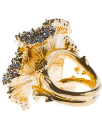 Alexander McQueen Embellished Floral Cocktail Ring - Lyst