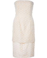 Alexander McQueen Embossed Cut-Out Floral Silk Dress - Lyst