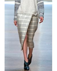 Yigal Azrouel Plaid Wrap Skirt Platinum - Lyst