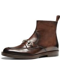 Gucci Leather Horsebit Boot - Lyst