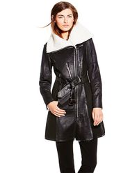 Vince Camuto Belted Sherpa Coat - Lyst