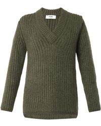 Fendi V-Neck Sweater green - Lyst