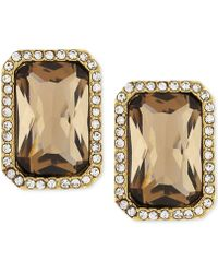 Vince Camuto - Gold-plated Champagne Stone And Crystal Clip-on Earrings - Lyst