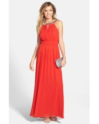 Laundry by Shelli Segal Embellished Open Back Chiffon Gown - Lyst