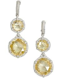 Judith Ripka Canary Crystal Eclipse Round Drop Earrings - Lyst