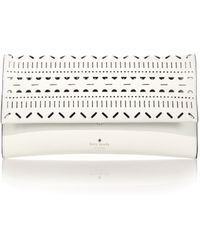 Kate Spade Lillian Laser-Cut Leather Clutch - Lyst