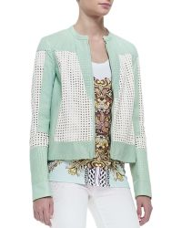 Just Cavalli Perforated Lambskin Leather Jacket Mintwhite - Lyst