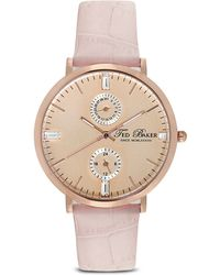 Ted Baker Multifunction Croc-embossed Leather Strap Watch 38mm - Lyst