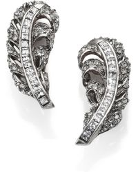 Oscar de la Renta Pave Crystal Feather Clip-On Earrings - Lyst