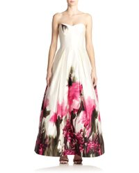 Milly Strapless Floral Gown - Lyst