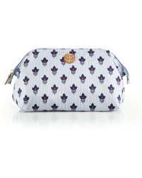 Tory Burch Striped Floral Nylon Cosmetic Case blue - Lyst