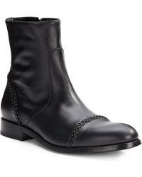 Roberto Cavalli Topstitch Leather Boots - Lyst