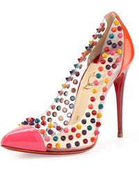 Christian Louboutin Spike Me Pvc Captoe Red Sole Pump - Lyst