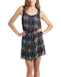 Charlotte Ronson Button Front Printed Dress - Lyst