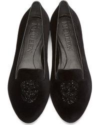 Alexander McQueen Black Velvet Skull Loafers - Lyst