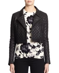 Haute Hippie Cropped Quilted-Leather Moto Jacket - Lyst