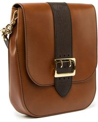 Burberry - Satchel Bag In Tan Calf Saddle Leather - Lyst