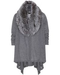 Alice + Olivia Izzy Cascade Wool And Cashmere Cardigan With Detachable Fur Collar - Lyst