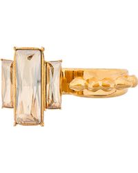 Alexander McQueen Gold Double Knuckle Studs and Stones Ring - Lyst