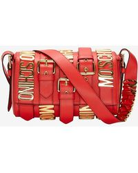 Moschino Buckled Logo Shoulder Bag Red - Lyst