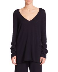 The Row Dory Cashmere V-Neck Sweater blue - Lyst