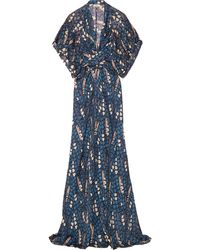 Issa Draped Printed Silk Maxi Dress - Lyst