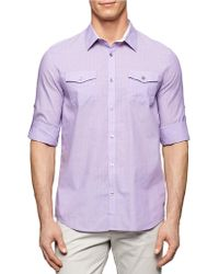Calvin Klein Striped Voille Roll-Up Shirt - Lyst