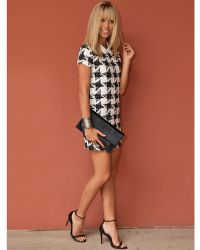 Lush - Houndstooth Jacquard Mini Dress  - Lyst