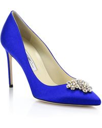 Brian Atwood Janne Bejeweled Satin Pumps - Lyst