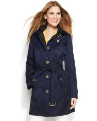 Michael Kors Michael Petite Hooded Belted Trench Coat - Lyst
