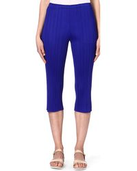 Pleats Please Issey Miyake Slim Cropped Pleated Trousers Blue - Lyst