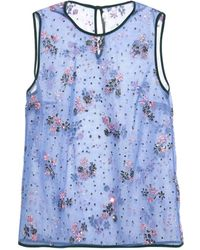 Mary Katrantzou Floral-embellished Tulle Top - Lyst