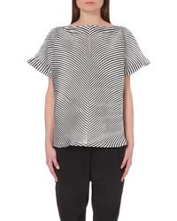 Issey Miyake Structured Striped Top - Lyst