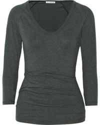 James Perse Ruched Stretch-cotton Jersey Top - Lyst