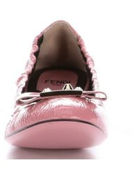 Fendi Pink Patent Leather Bow Detail Ballet Flats - Lyst