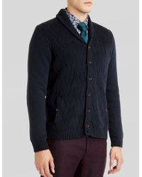 Ted Baker Zigtop Shawl Knit Cardigan - Lyst