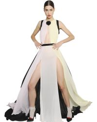 Daniele Carlotta Color Blocked Silk Georgette Dress - Lyst