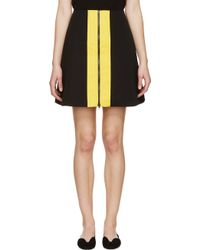 Carven Black And Yellow Two_Tone Skirt - Lyst