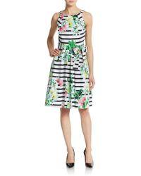 Chetta B - Floral-print Striped Tie-waist Dress - Lyst