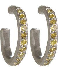 Malcolm Betts - Platinum & Yellow Diamond Hoop Earrings - Lyst