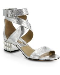 Michael Kors Leigh Metallic Snakeskin Embellished Sandals - Lyst