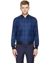 Alexander McQueen Blue Wool Bomber Jacket - Lyst